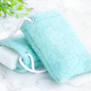 Mint Green Soap Saver in Wool by Tailored Soap