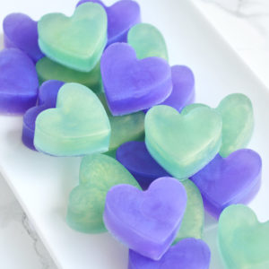Purple and Green Peacock Heart Soap Favors by Tailored Soap