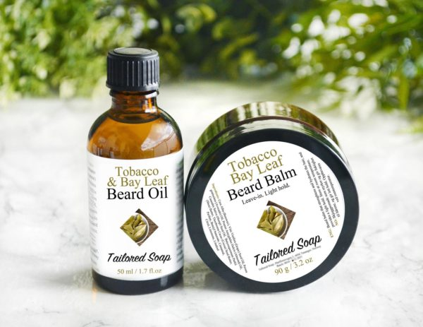 Tobacco Bay Leaf Beard Balm and Beard Oil by Tailored Soap