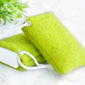 Lime Green Soap Saver in Wool by Tailored Soap