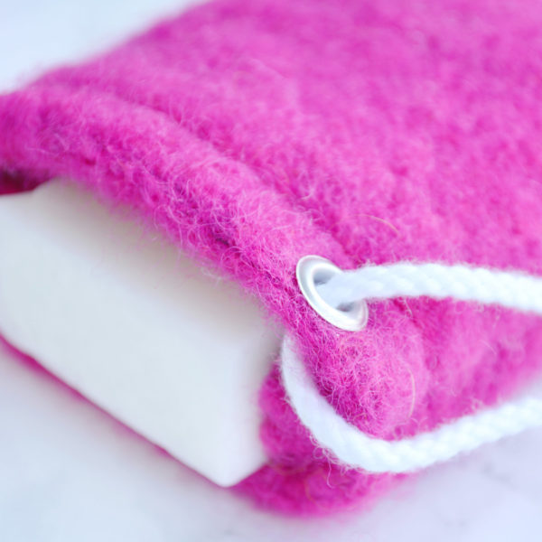 Magenta Soap Saver in Wool by Tailored Soap