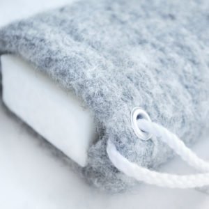 Gray Soap Saver in Wool by Tailored Soap