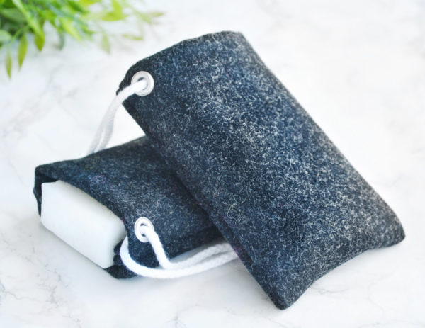 Black Soap Saver in 100% Wool by Tailored Soap