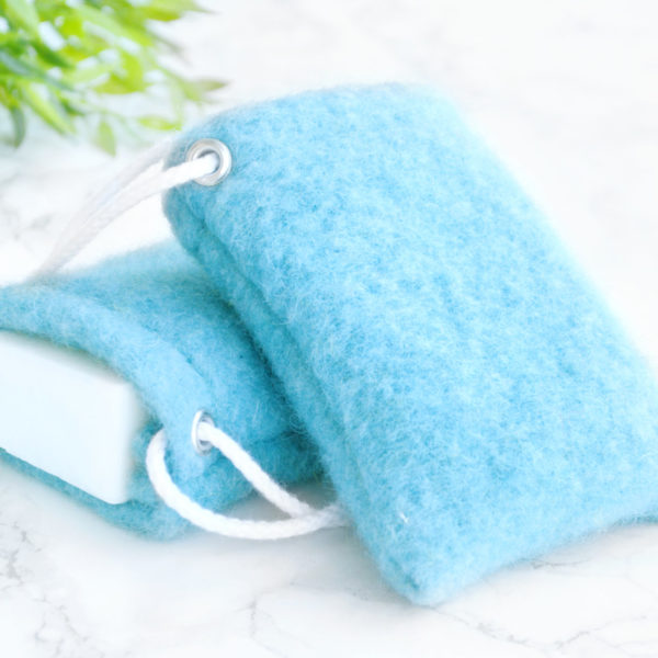 Blue Soap Saver in Wool by Tailored Soap