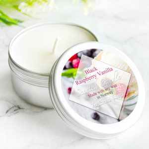 Black Raspberry Vanilla Scented Candle by Tailored Soap