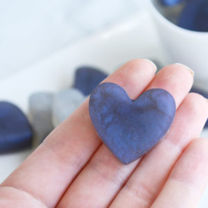 Navy Blue and Silver Heart Soap Favors by Tailored Soap