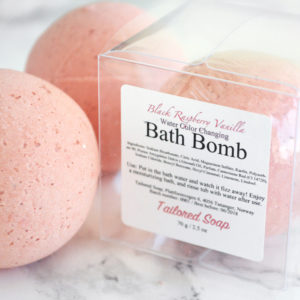 Red Water Color Changing Black Raspberry Vanilla Scented Bath Bomb by Tailored Soap