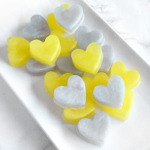 Yellow and Grey Heart Soap Favors