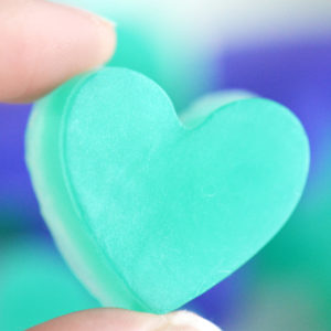 Purple and Green Peacock Heart Soap Favors