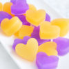 Purple and Orange Heart Soap Favors by Tailored Soap