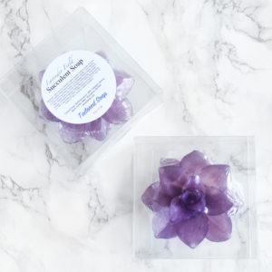Purple Lavender Field Succulent Soap by Tailored Soap in packaging