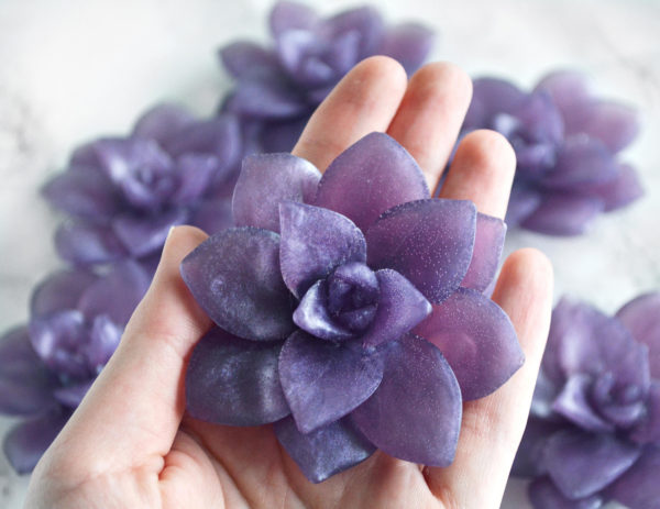 Close up of purple Lavender Field Succulent Soap by Tailored Soap