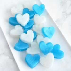 Blue and White Heart Soap Favors by Tailored Soap