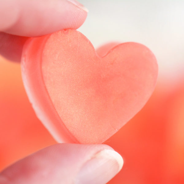 Coral and Peach Heart Soap Favors by Tailored Soap