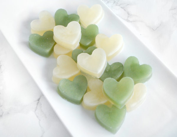 Cream and Olive Green Heart Soap Favors by Tailored Soap