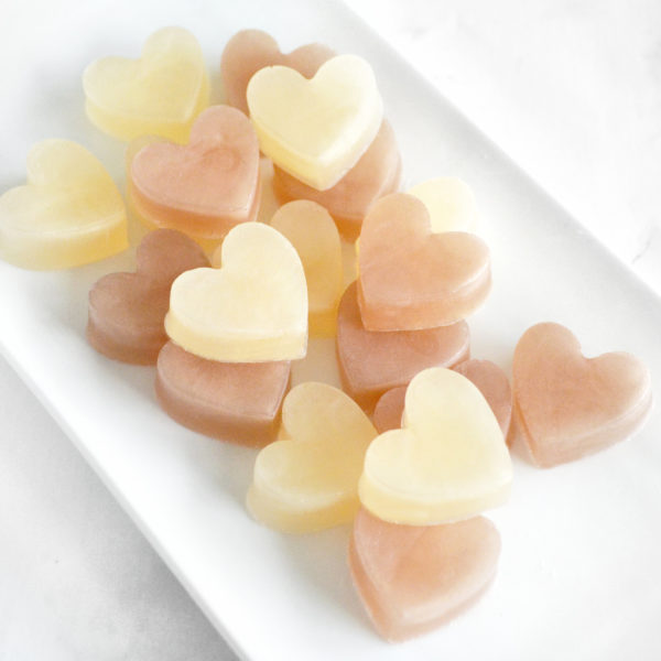Beige and Champagne Heart Soap Favors by Tailored Soap