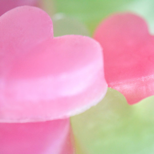 Pink and Green Heart Soap Favors by Tailored Soap