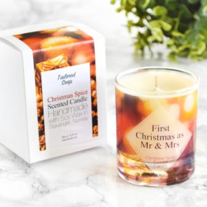 """First Christmas as Mr and Mrs"" Candle by Tailored Soap"