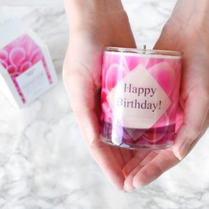 Cherry Blossom Scented Candle Happy Birthday Gift and Card in Box