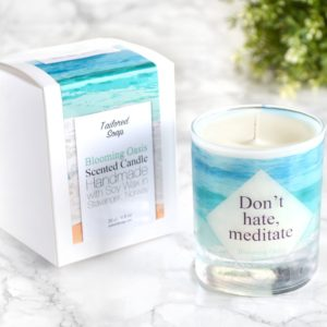 Don't hate meditate yoga lover candle with box