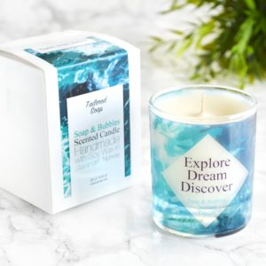 Explore dream discover wanderlust quote high end candle with box