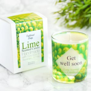 Get Well Soon Gift Candle with Box Lime Scented