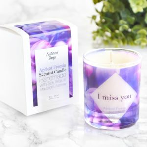 I miss you scented glass candle with box