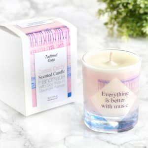 Cotton Candy candle with box Everything is better with music quote
