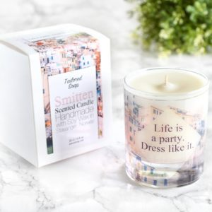 Life is a party dress like it fashion quote candle with box