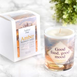 Good food good mood foodie gift amber scented glass candle with box