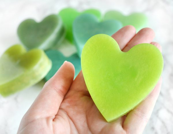 Green Heart Soap With Couple Initials