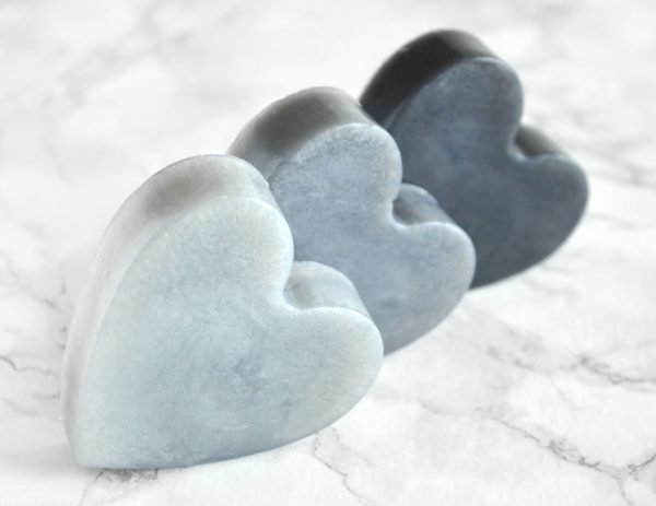 Silver and Black Heart Soap With Couple Initials