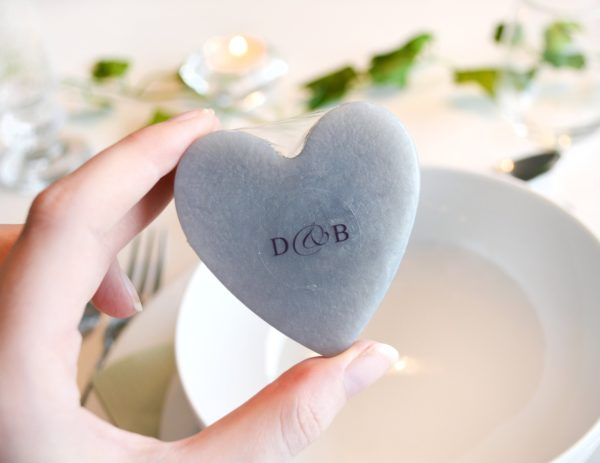 Silver Heart Soap With Couple Initials