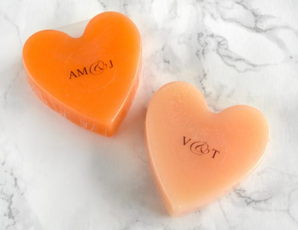 Orange Heart Soap With Couple Initials
