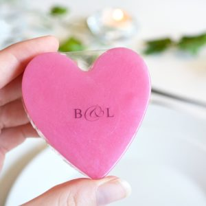Pink Heart Soap With Couple Initials