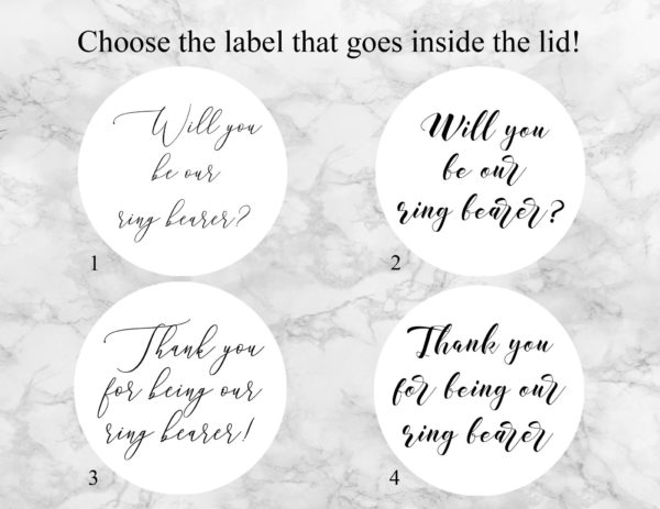 """Thank You For Being Our Ring Bearer"" Bath Bomb Gift Box Label Options"