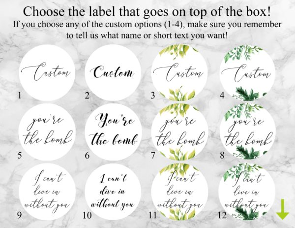 """Will You Be Our Usher"" Bath Bomb Gift Box Label Options"
