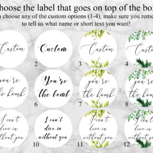 """Will You Be My Bridesmaid"" Bath Bomb Gift Box Label Options"