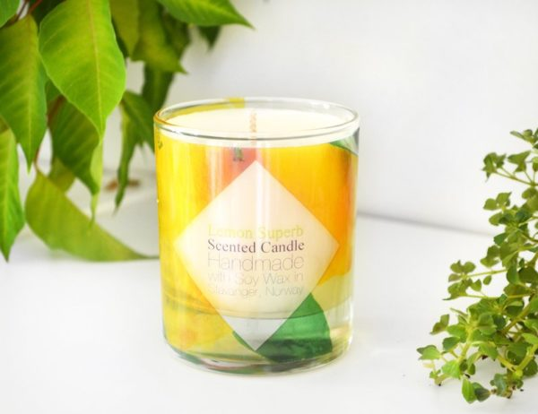 Lemon Scented Glass Soy Candle with Box by Tailored Soap
