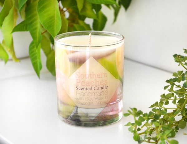 Southern Peaches Scented Soy Candle With Gift Box by Tailored Soap