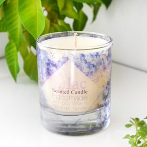 Lilac Scented Glass Soy Candle with box by Tailored Soap