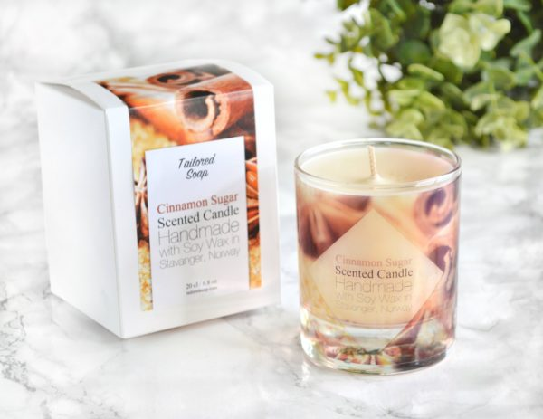 Cinnamon Sugar Scented Glass Candle With Gift Box by Tailored Soap