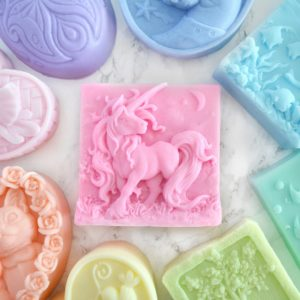 Customizable unicorn soap, handmade by Tailored Soap in scent and color of your choice